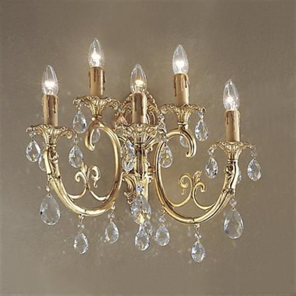 Classic Lighting Princeton Collection Satin Bronze with Brown Patina Crystalique 5-Light Wall Sconce