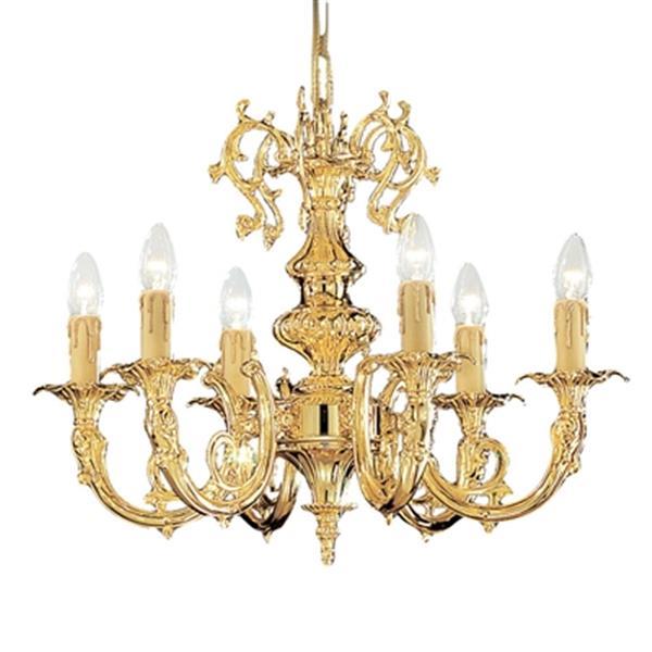 Classic Lighting Princeton 18-in 24K Gold Plate 6-Light Chandelier