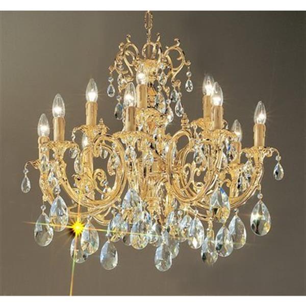 Classic Lighting Princeton 25-in 24K Gold Plate 12-Light Chandelier