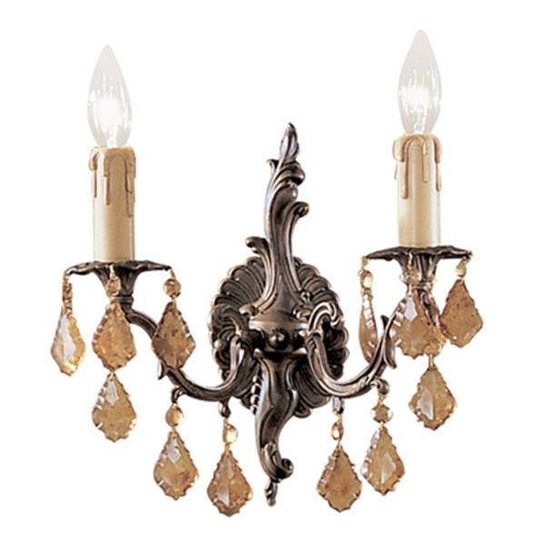 Classic Lighting Parisian Collection Aged Bronze Antique Italian Crystal 2-Light Wall Sconce