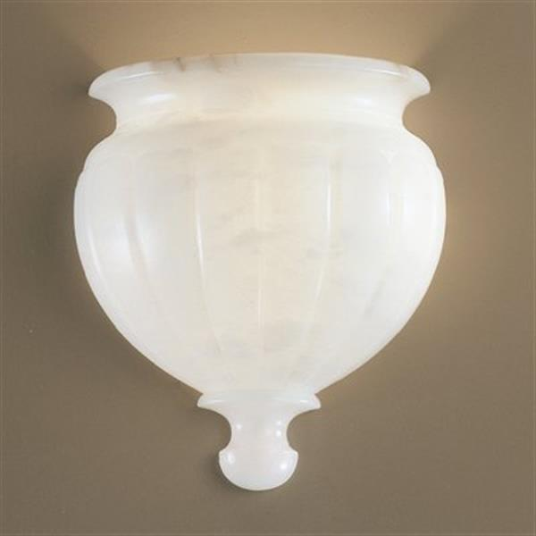 Classic Lighting Navarra Collection White Alabaster Single Light Wall Sconce