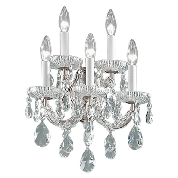 Classic Lighting Maria Theresa Collection Olde World Gold Swarovski Spectra 5-Light Wall Sconce