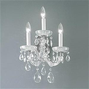 Classic Lighting Maria Theresa Collection Chrome Crystalique 3-Light Wall Sconce