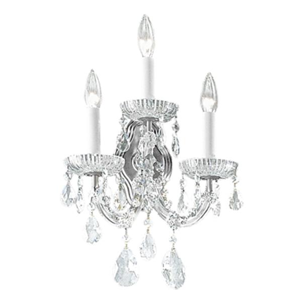 Classic Lighting Maria Theresa Collection Chrome Swarovski Spectra 3-Light Wall Sconce