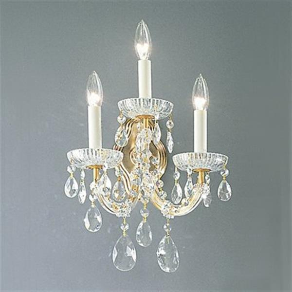 Classic Lighting Maria Theresa Collection Olde World Gold Crystalique 3-Light Wall Sconce