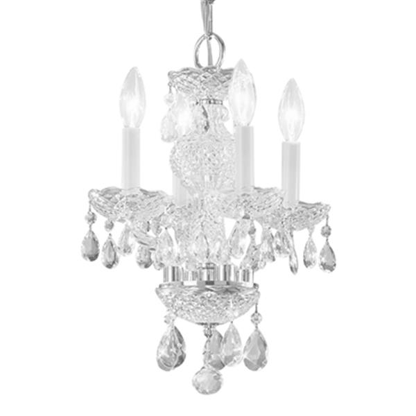 Classic Lighting Monticello 15-in Chrome  Italian Crystal 4-Light Mini Chandelier