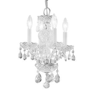 Classic Lighting Monticello 15-in Chrome Italian Crystal 4-Light Mini Chandelier
