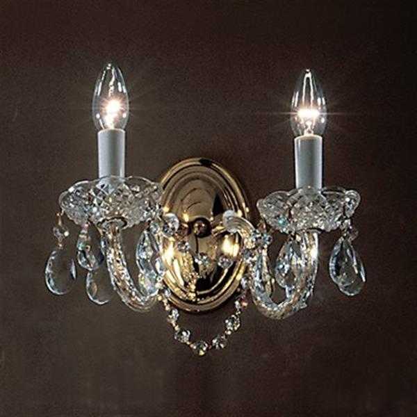 Classic Lighting Monticello Collection 24k Gold Plate Swarovski Crystalique 2-Light Wall Sconce