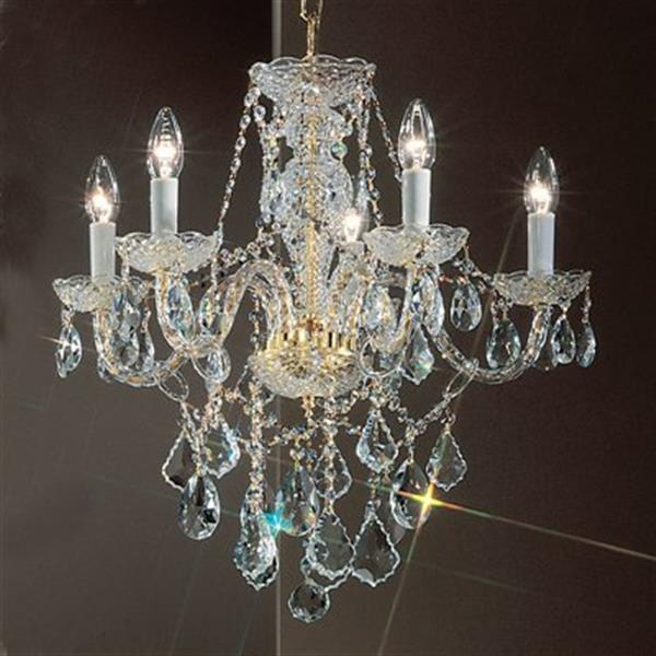 Classic Lighting Monticello 21-in 24K Gold Plated GP C 5-Light Chandelier