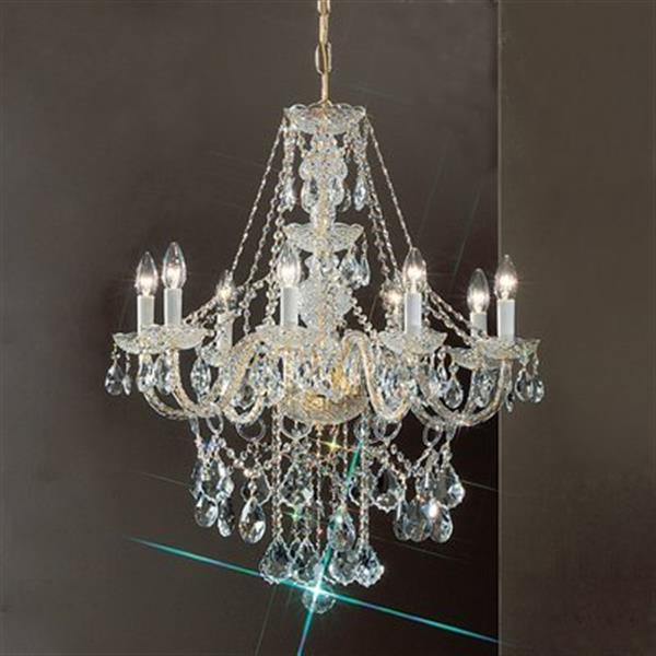 Classic Lighting Monticello Collection 27-in x 30-in 24k Gold Plate Crystalique 8-Light Chandelier