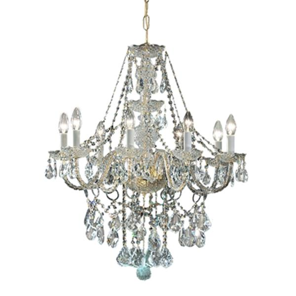 Classic Lighting Monticello Collection 27-in x 30-in 24k Gold Plate Swarovski Strass 8-Light Chandelier