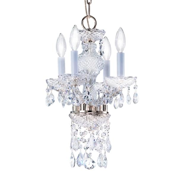 Classic Lighting Monticello Collection 11-in x 15-in Chrome Swarovski Strass 4-Light Mini Chandelier