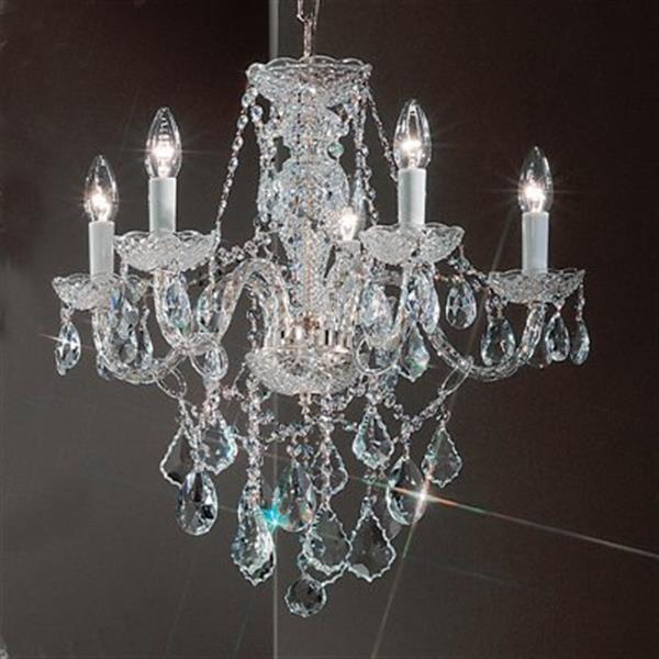 Classic Lighting Monticello Collection 22-in x 21-in Chrome Crystalique 5-Light Chandelier