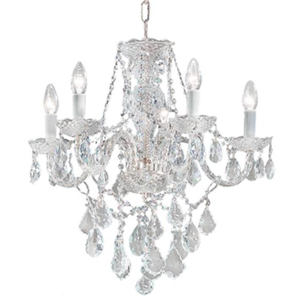 Classic Lighting Monticello Collection 22-in x 21-in Chrome  Swarovski Spectra 5-Light Chandelier