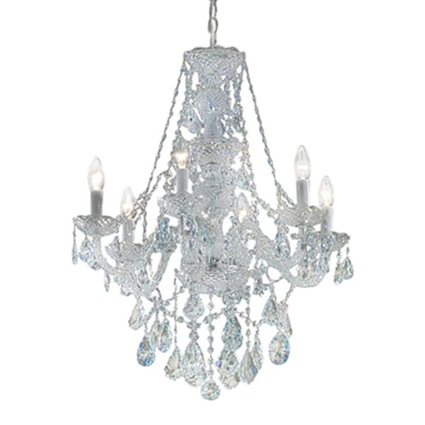 Classic Lighting Monticello Collection 22-in x 28-in Chrome Crystalique 6-Light Chandelier