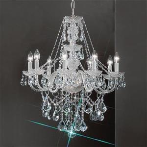 Classic Lighting Monticello Collection 27-in x 30-in Chrome Crystalique 8-Light Chandelier