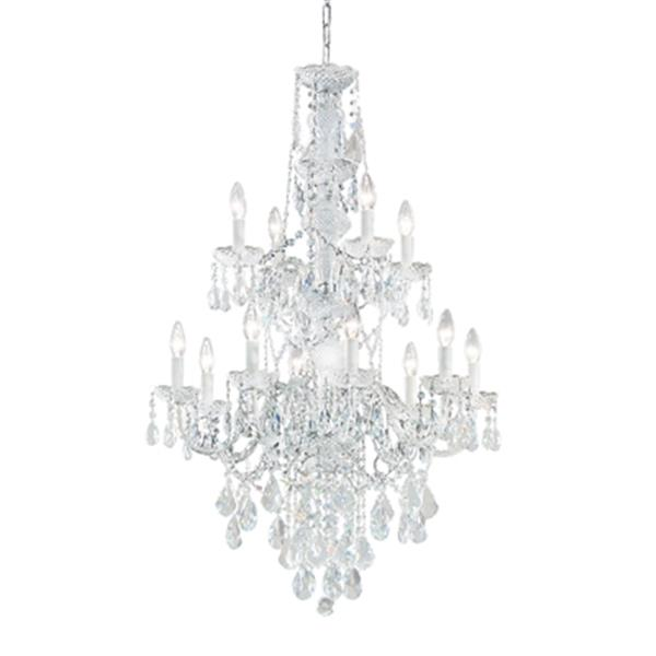 Classic Lighting Monticello Collection 27-in x 42-in Chrome Crystalique 12-Light Chandelier