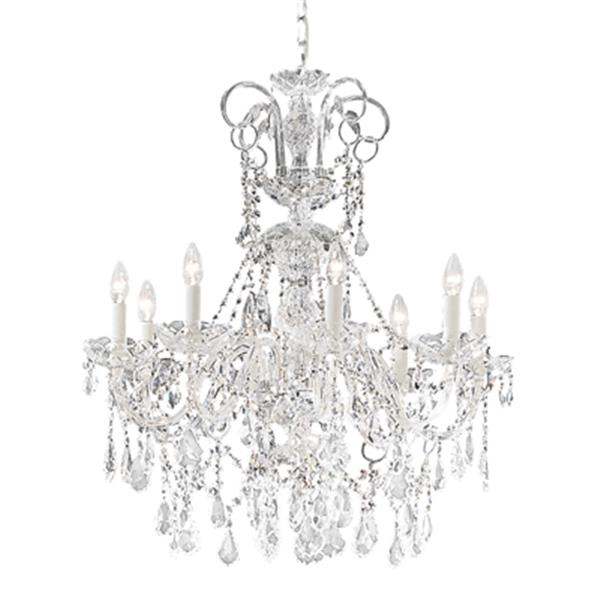 Classic Lighting Bohemia Collection 28-in x 32-in 24k Gold Plate Swarovski Strass 8-Light Chandelier