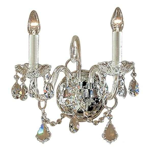 Classic Lighting Bohemia Collection 24k Gold Plate Crystalique 2-Light Wall Sconce