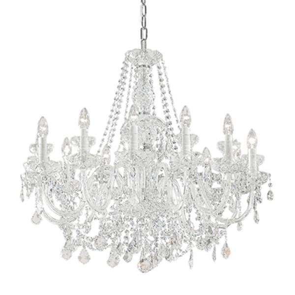 Classic Lighting Bohemia Collection 32-in x 26-in Chrome Crystalique 12-Light Chandelier