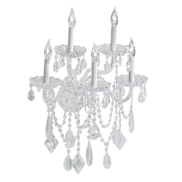 Classic Lighting Prague Collection Chrome Crystalique 5-Light Wall Sconce