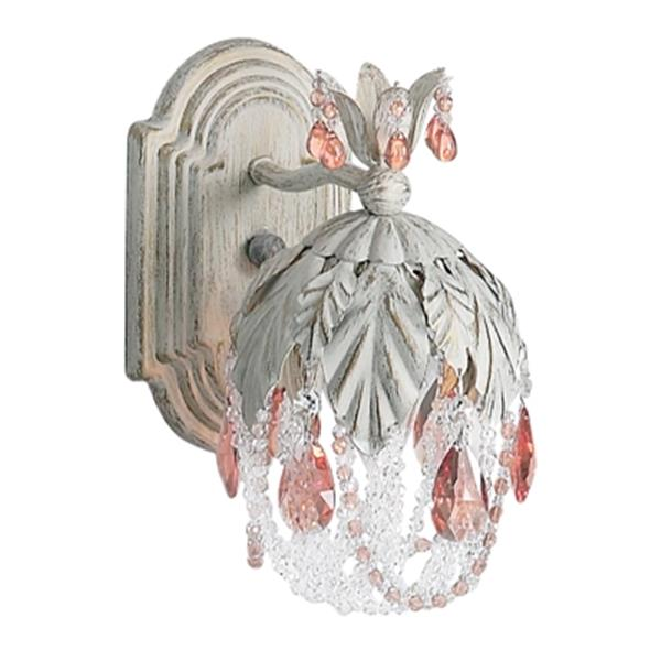 Classic Lighting Petite Fleur Collection Antique White Prisms Amber Wall Sconce