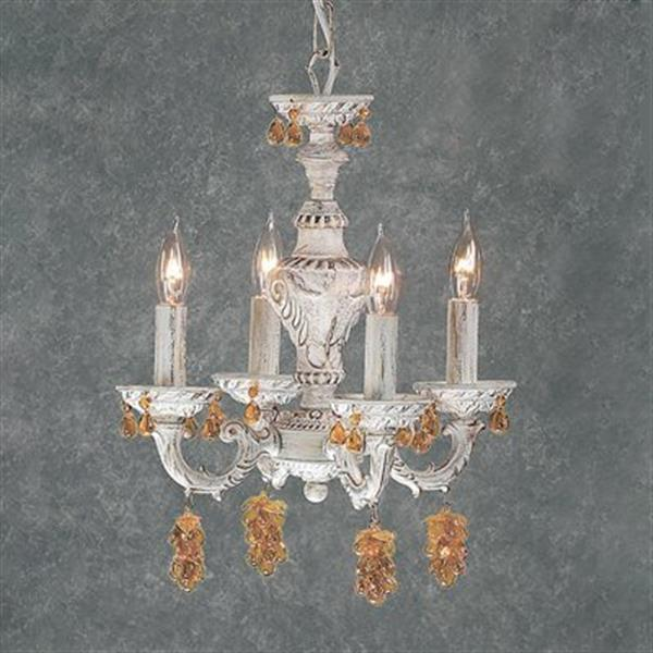 Classic Lighting Gabrielle Collection 12-in x 15-in Antique White Grape Cluster 4-Light Mini Chandelier
