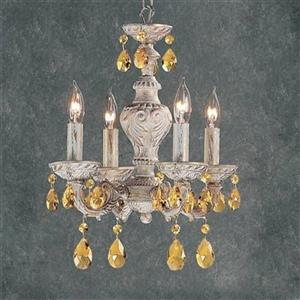 Classic Lighting Gabrielle Collection 12-in x 15-in Antique White Prisms Amber 4-Light Mini Chandelier