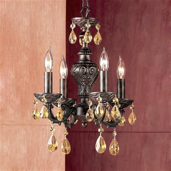 Classic Lighting Gabrielle Collection 12-in x 15-in English Bronze Prisms Amber 4-Light Mini Chandelier