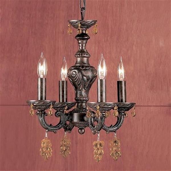 Classic Lighting Gabrielle Collection 12-in x 15-in English Bronze Strass Golden Teak 4-Light Mini Chandelier