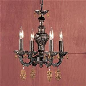 Classic Lighting Gabrielle Collection 12-in x 15-in English Bronze Strass Golden Teak 4-Light Mini Chandelier