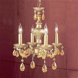 Classic Lighting Gabrielle Collection 12-in x 15-in Olde Gold Prisms Amber 4-Light Mini Chandelier