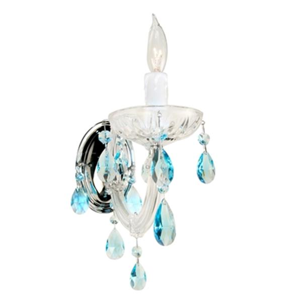 Classic Lighting Rialto Traditional Collection Chrome Crystalique Black Wall Sconce