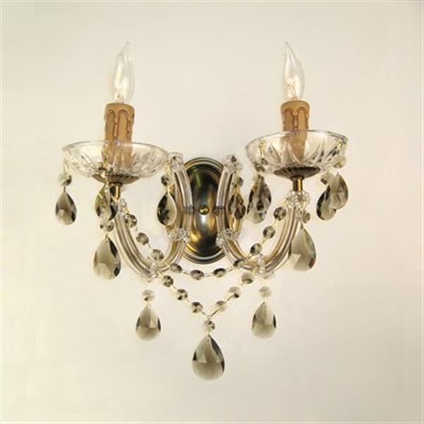 Classic Lighting Rialto Traditional Renovation Brass Crystalique Golden 2-Light Wall Sconce