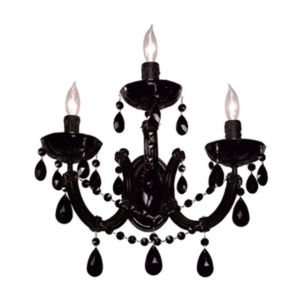 Classic Lighting Rialto Traditional Chrome Crystalique Black 3-Light Wall Sconce