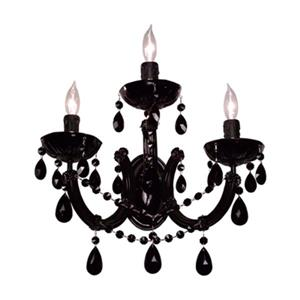 Classic Lighting Rialto Traditional Gold Plated Crystalique Black 3-Light Wall Sconce