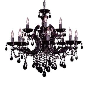 Classic Lighting Rialto Traditional Collection 28-in x 27-in  Black Crystalique Black 12-Light Chandelier