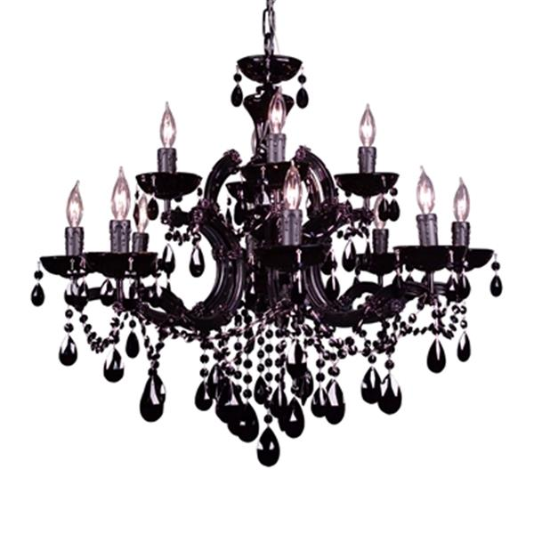 Classic Lighting Rialto Traditional Collection 28-in x 27-in Chrome Crystalique Black 12-Light Chandelier
