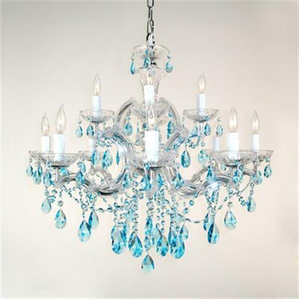 Classic Lighting Rialto Traditional Collection 28-in x 27-in Chrome Crystalique Sapphire 12-Light Chandelier