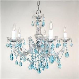 Classic Lighting Rialto Traditional Collection 22-in x 23-in Chrome Crystalique Sapphire 5-Light Chandelier