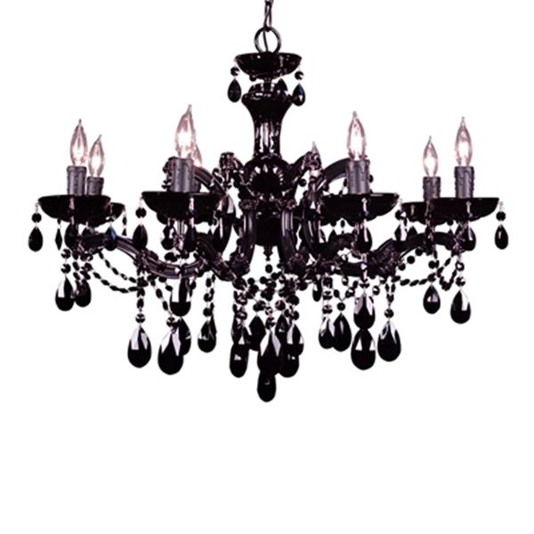 Classic Lighting Rialto Traditional Collection 28-in x 21-in Black Crystalique Black 8-Light Chandelier