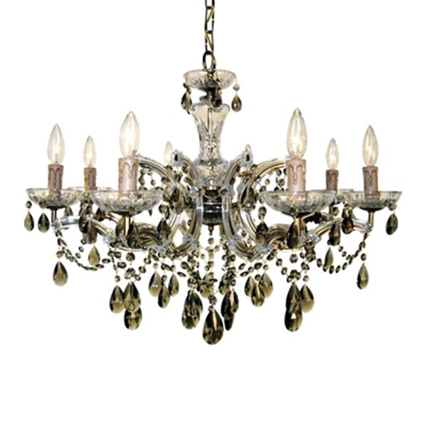 Classic Lighting Rialto Traditional Collection 28-in x 21-in Black Strass Golden Teak 8-Light Chandelier
