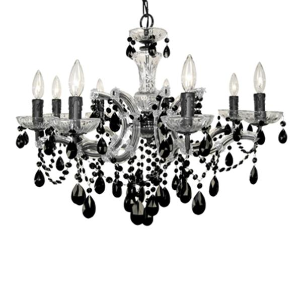 Classic Lighting Rialto Traditional Collection 28-in x 21-in Chrome Crystalique Black 8-Light Chandelier