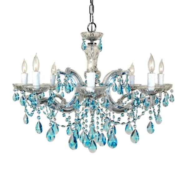 Classic Lighting Rialto Traditional Collection 28-in x 21-in Chrome Crystalique Sapphire 8-Light Chandelier