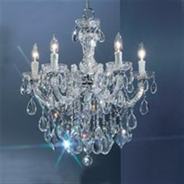 Classic Lighting Rialto Contemporary Collection 22-in x 24-in Chrome Crystalique 5-Light Chandelier