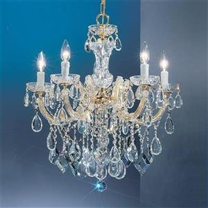 Classic Lighting Rialto Contemporary Collection 22-in x 24-in Gold Plated Crystalique 5-Light Chandelier