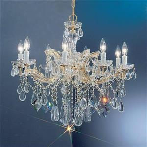 Classic Lighting Rialto Contemporary Collection 28-in x 25-in Gold Plated Crystalique 8-Light Chandelier