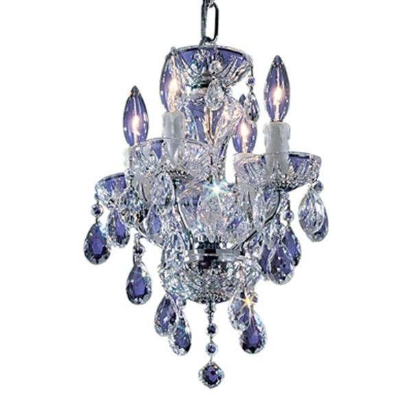 Classic Lighting Daniele Collection 11-in x 15-in English Bronze Italian Crystal 4-Light Mini Chandelier
