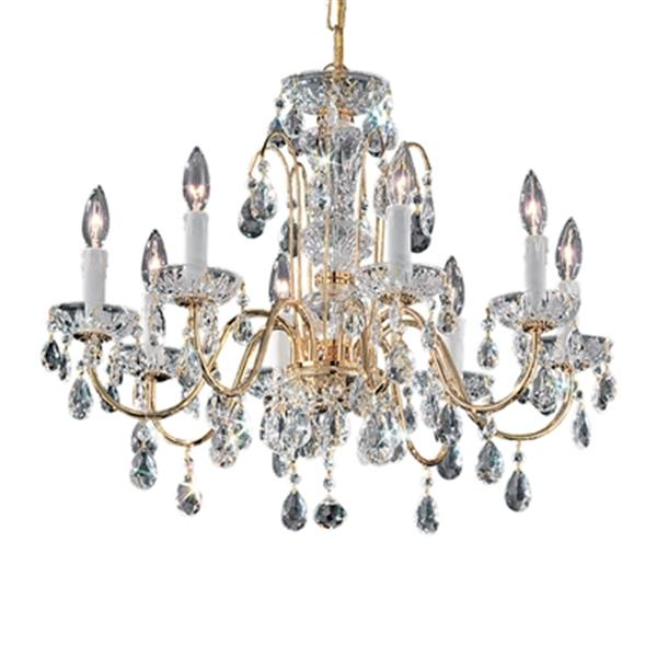 Classic Lighting Daniele Collection 25-in x 20-in English Bronze Italian Crystal 8-Light Chandelier