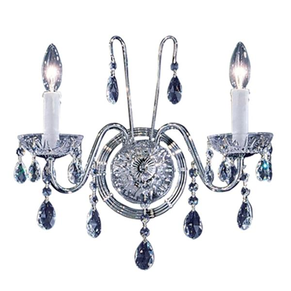 Classic Lighting Daniele Chrome Swarovski Strass 2-Light Upgrade Wall Sconce
